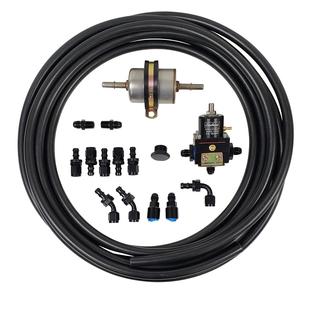 EFI Fuel Line Kit with Edelbrock Bypass Regulator with 2 - 45 Degree Hose Ends