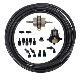 EFI Fuel Line Kit with Edelbrock Bypass Regulator with 2 - 45 Degree Hose Ends