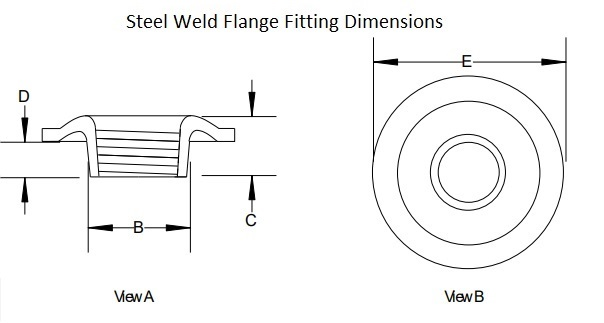 Weld In Flange Size Drawing